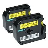 Logic-Seek 2 Schriftbänder kompatibel für Brother MK-621, P-Touch 50 60 65 75 80 85 90 110 BB4 9mm/8m - Schwarz auf Gelb (Thermofarbband)