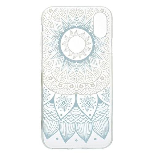 "Coque pour Apple iPhone X , IJIA Transparent Plumes Bleues TPU Doux Silicone Bumper Case Cover Shell Housse Etui pour Apple iPhone X (5.8"") MM20"