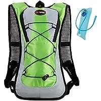 Haoyk - Mochila deportiva de 5 L impermeable y ligera con bolsa de hidratación de 2 L, reflectante, para mujer y hombre, verde
