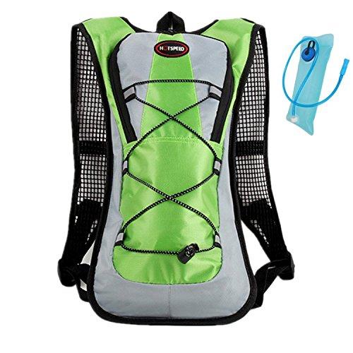 haoyk 5L wasserdicht Rucksack Leicht Trinkblase Bag Sport Water Bag (2L) mit reflektierend für Frauen Herren Laufen Ski Wandern Fahrrad Mountain Grün