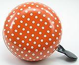 Fahrradglocke Ding Dong orange / weiße Punkte 2-Klang  80mm XXL Fahrradklingel