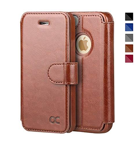 OCASE iPhone 5 Hülle Premium Leder Tasche Handyhülle Flip Case Cover Schutzhülle Brieftasche Hülle für Apple iPhone 5S SE 5 Geräte Braun