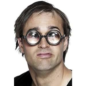 Occhiali da nerd lenti spesse tonde costume buffo per scherzo carnevale