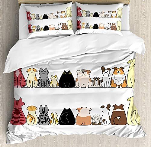 KIMDFACE Bettwäscheset für Kinder, Katzen und Hunde Collie Calico Labrador Schottisch Kurzhaar Tabby Shih Tzu Haustierliebhaber Kunstdruck, Dekoratives 3 teiliges Bettwäscheset mit 2 Kissenbezügen -