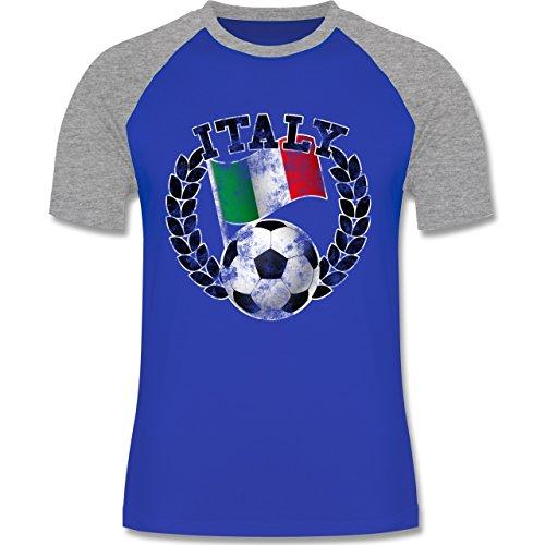 EM 2016 - Frankreich - Italy Flagge & Fußball Vintage - zweifarbiges Baseballshirt für Männer Royalblau/Grau meliert
