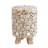 Invicta Interior Massiver Teakholz Hocker MOSAIK runder Beistelltisch natur in Handarbeit gefertigt Holzhocker Holztisch Massivholz