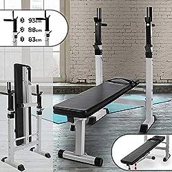 Physionics Banc de Musculation avec Support de Barres - Pliable & Réglable, Charge Totale Max. 200kg, Dimensions (L/l/H) : env. 118,5/55/91-106 cm - Banc de Poids, d'Entraînement, Fitness