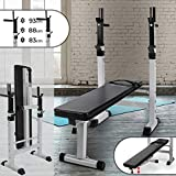 Physionics Banc de Musculation avec Support de Barres - Pliable & Réglable, Charge Totale Max. 200kg, Dimensions (L/l/H) :...