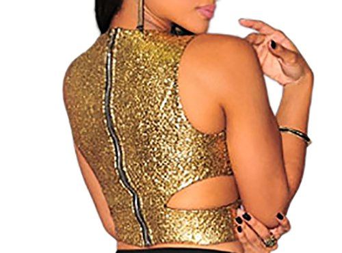 Top donna top festa donna sottogiacca sexy donna top casual top sexy party Oro