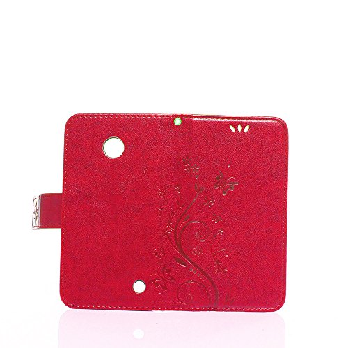 Cover Protettiva Nokia N630, Alfort 2 in 1 Custodia in Pelle Verniciata Goffrata Farfalle e Fiori Alta qualità Cuoio Flip Stand Case per la Custodia Nokia N630 Ci sono Funzioni di Supporto e Portafogl Rosso