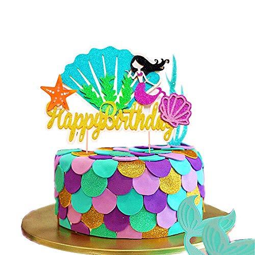aid Cake Topper Mermaid Happy Birthday Kuchen Dekoration für Meerjungfrau Baby Shower Birthday Party Supplies ()