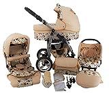 Chilly Kids Dino sistema da viaggio 4 in 1 passeggino combinato (seggiolino auto + base Isofix, parapioggia, zanzariera, ruote girevoli, 55 colori) 56 gufo beige