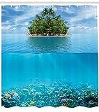 Abakuhaus Duschvorhang, Einsame Tropische Insel mit Palmen und das Unterwasserleben Rift Fische Künstlerische Fotografie, Wasser und Blickdicht aus Stoff mit 12 Ringen Bakterie Resistent, 175 X 200 cm