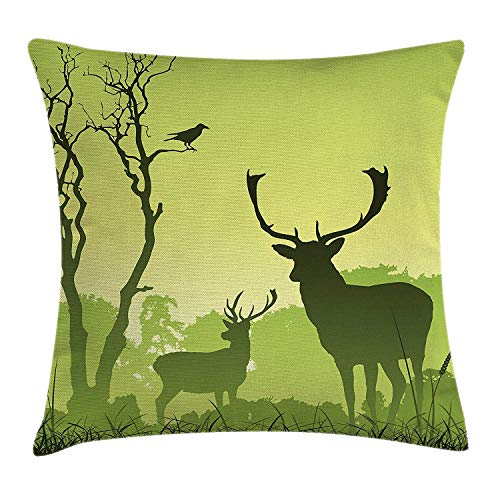 Antlers Throw Pillow Cushion Cover, Deer on Meadow with Trees and Crow Bird Mist Rural Green Country, Decorative Square Accent Pillow Case, 18 X 18 Inches, Light Green and Forest Green - Mist Fringe