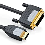 deleyCON 3m DisplayPort zu DVI Kabel - FullHD/1080p/3D/HDCP/EDID - DP Stecker auf DVI-D (24+1) Stecker (Adapterkabel) - für Apple Mac/PC/Notebook/Monitor/Beamer/Grafikkarte