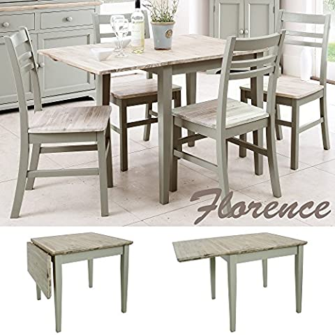 Florence square extended table (75-110cm). Kitchen table with wooden top. Quality extendable table