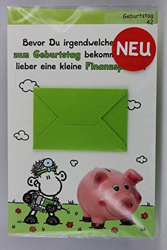 Sheepworld - 55477 - Stanzkarte, Klappkarte Nr. 42, Geburtstag, mit Umschlag, Bevor Du irgendwelchen Mist zum Geburtstag bekommst gibt´s lieber eine kleine Finanzspritze!