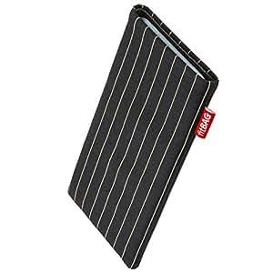 fitBAG Twist Schwarz Handytasche Tasche aus Nadelstreifen-Stoff mit Microfaserinnenfutter für Motorola moto g | Schlanke Hülle als edles Zubehör mit praktischer Reinigungsfunktion | Rundumschutz | Made in Germany