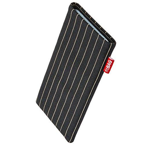 fitBAG Twist Schwarz Handytasche Tasche aus Nadelstreifen-Stoff mit Microfaserinnenfutter für Bea-fon Beafon SL470 | Hülle mit Reinigungsfunktion | Made in Germany