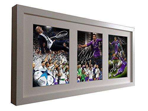 Firmado Real Madrid 'celebración edición' 2017Champions League Win. Zinedine zidane-cristiano ronaldo-gareth bale-sergio Ramos. Firmada foto fotografía marco de fotos regalo