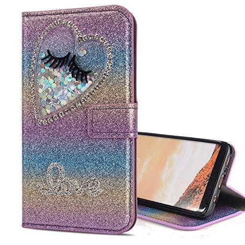 Nadoli Leder Hülle für Galaxy S7,Luxus Bling Glitzer Diamant 3D Handyhülle im Brieftasche-Stil Wimper Herz Flip Schutzhülle Etui für Samsung Galaxy S7,Lila#