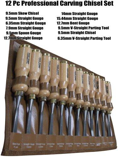 Toolzone Meißel-Set, Schnitzwerkzeug, hohe Qualität, 12-teilig