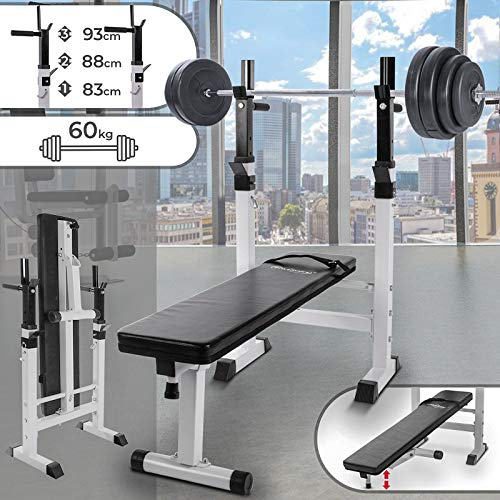 Physionics Set palestra panca pesi con bilanciere e set pesi da 60 kg
