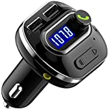 FM Transmitter, VicTsing Wireless FM Modulator Bluetooth 4.1 Music Player, Wireless In-Car FM Transmitter Radio Adapter Car Kit, Universal Car Charger with Dual USB Ports and 3.5mm Audio Port, Support Hands Free Calling Display Car Battery Voltage Support MP3 WMA music on the SD card and USB Flash Drive - Black
