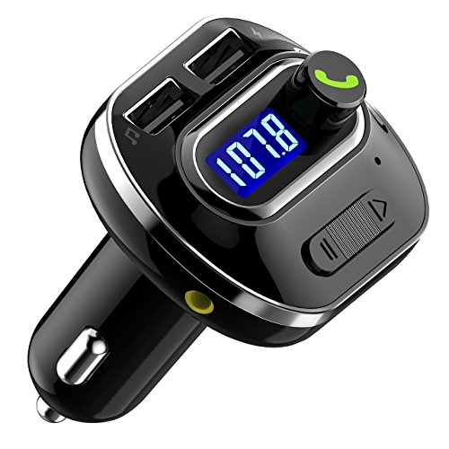 OMorc FM Transmitter, Bluetooth V4.1 FM Transmitter KFZ Auto Wireless Radio Adapter freisprecheinrichtung Car Kit integriertem mit Mikrofon, 2 Auto USB Ladegerät (5V/2,1A Ausgang)-Schwarz