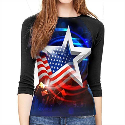 Henrnt Damen Bluse 3/4 Arm T-Shirt Bluse Top Stars, Flags, Goddess Print T-Shirt Casual Crew Neck Tops Tee