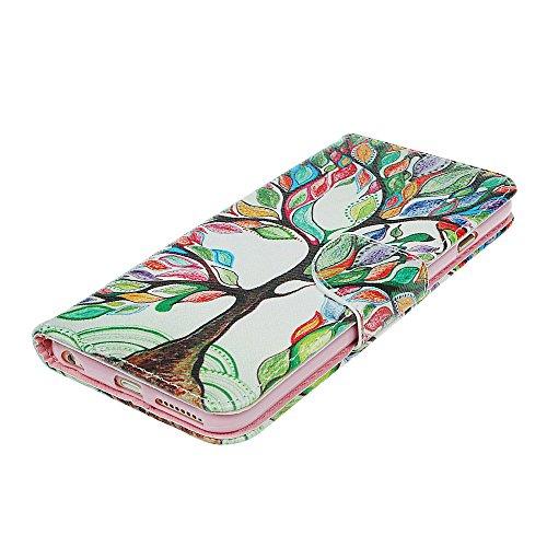 """xhorizon® Neu BlumenblattStil Brieftasche Folio Flip Magnet Stand Ledertasche Case Hülle mit Kreditkarteninhaber für Apple iPhone 6 Plus (5.5"""") mit Stift und xhorizon Reinigungstuch 2-Baum und Blatt"""