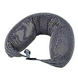 Ronhan Travel Kissen U-förmige aufblasbare Halskissen Unterstützung-Kompakt und leicht, geeignet für das Schlafen in Flugzeugen, Autos und Zügen, Tragetasche ist sehr tragbar,Black