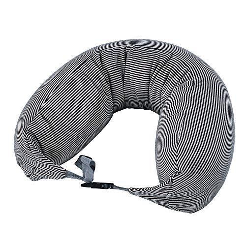 Coussin de voyage Ronhan oreiller en forme de U cou gonflable de soutien-compact et léger, adapté pour dormir sur les avions, les voitures et les trains, sac de transport est très portable,Black