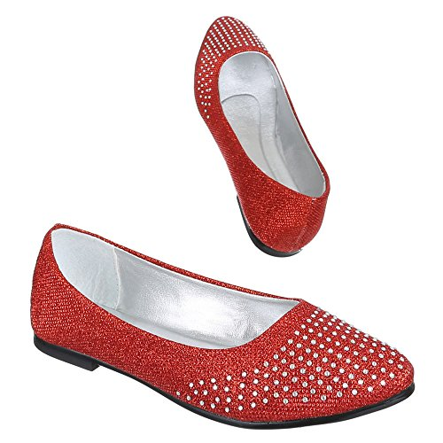Ital-Design, B–401, Ballerines strass besetzte Pumps Rouge - Rouge