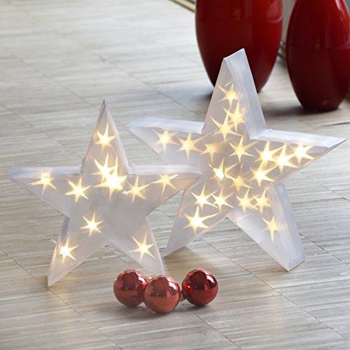 BonAura Weihnachtsstern mit Hologramm Optik Ø 35cm - Innovative Weihnachtsbeleuchtung innen - Stern LED zur Weihnachtsdeko mit Kabel im Geschenk Karton