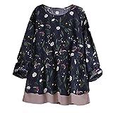 OverDose Damen Herbst Freizeit Stil Frauen Baumwolle Solid Langarm-Shirt beiläufige lose Bluse Beach Party Button-Down-Tops Pullover(Marine,EU-50/CN-3XL)