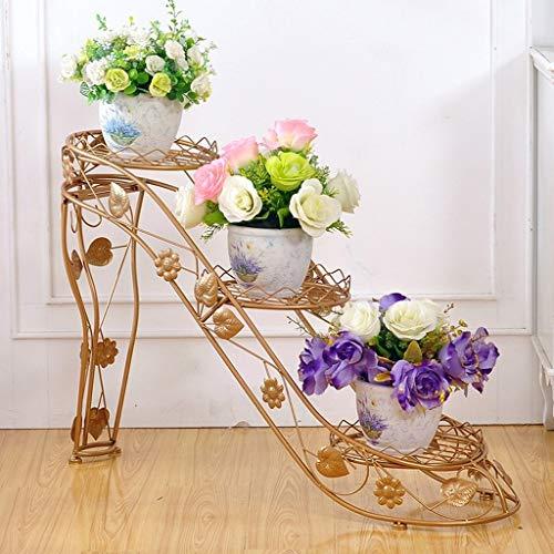 els Kreative Blumenrahmen Indoor-und Outdoor-Wohnzimmer Balkon Multi-Layer Pot Rack,Gold ()