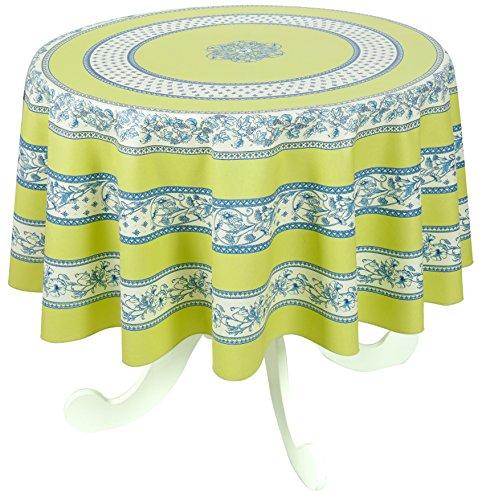 VENT DU SUD Nappe enduite Sanary Tilleul Ronde 160 cm Coton, 160 x 160 cm