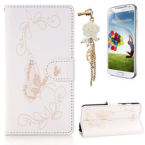 Preisvergleich Produktbild Galaxy S7 Edge Leder Hülle, Samsung S7 Edge PU Laserschneidenn Schmetterling Ledertasche