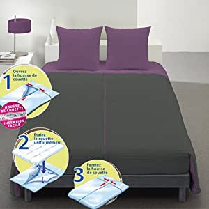Housse de couette system T + 2 taies anthracite figue 220x240