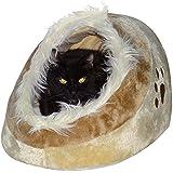 Waschbares Flauschi Katzenhöhle Tierbett mit Kuscheleinlage für Hund, Katze & Haustier, inkl. Katzenangel