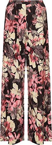 WearAll - Übergröße Damen Blumen Druck Weite Bein Palazzo Hosen - 11 Mustern - Größen 44-54 Dusty Rosa