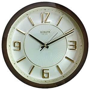 Rikon Quartz Wooden Finish Plastic Round Shape Golden Embossed Number Silent Movement Wall Clock (31 cm x 31 cm, Brown Ivory) R 21
