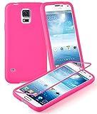 Cadorabo DE-102859 TPU Silikon Schutzhülle (Full Body Rund-um-Schutz auch für das Display) für Samsung Galaxy S5 / S5 NEO Hot Pink