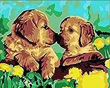 Rihe Rahmenlos, Farbe Nach Anzahl DIY Ölgemälde Little Golden Retriever Hunde Leinwand Druck Wand Kunst Home Dekoration
