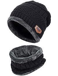 Westeng 1set Gorro de Punto Invierno y Bufanda Caliente Tejido Unisex  Cálido y Confortable Sombreros y 0ec7cb78ae6