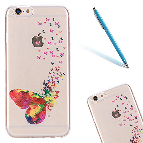 Super Sveglio Liscio Molle Gel Caso per Apple iPhone 6/6s 4.7, CLTPY Gradiente di Colore Vintage Sunflower Totem Stile Cristallo Ultra Slim Fine Anti Scivolo Protezione Bumper Case per iPhone 6,iPhon Farfalla