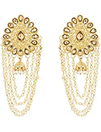 The Luxor Stylish Party Wear Pearls Jewellery Jhumkhi Earring For Women And Girls -ER-1835