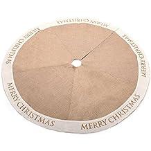Burlap Merry Christmas árbol de Navidad falda