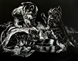 WASO-Hobby - 4er Scrapy Kratzbilder Set - Tierkinder-Motive / Silber *Groß*